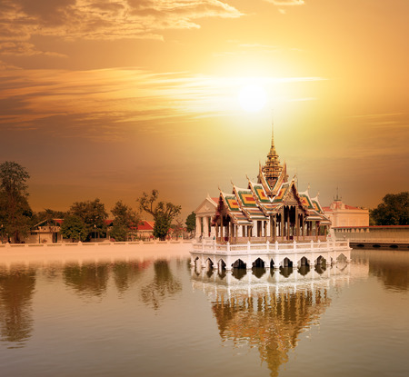 summer residence: Bang Pa In ancient palace, former royal summer residence of Thai King near Ayutthaya and Bangkok, Thailand at sunset