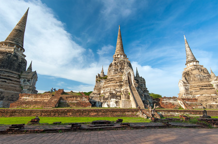 ayutthaya: Ayutthaya Thailand - ancient city and historical place. Wat Phra Si Sanphet Stock Photo