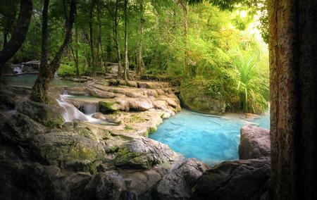selva: Fondo de naturaleza tranquila y pacífica de corriente del río hermoso que fluye por cascadas naturales y piedras mojadas con la luz del sol brillando suavemente