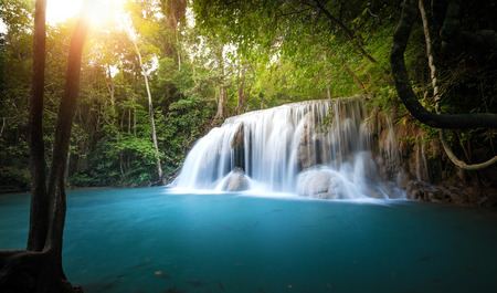 Sunlight shines through trees and leaves of tropical forest and waterfall flows into blue water pond