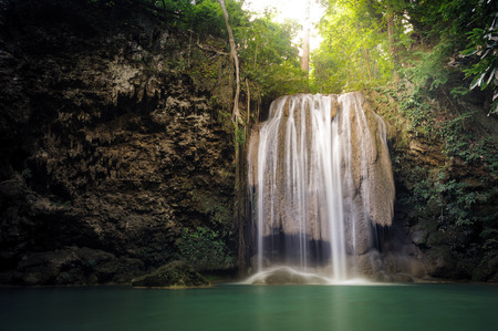 rainforest background: Nature background - Waterfall in tropical rainforest