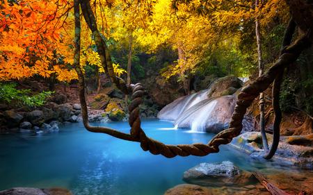 Erstaunliche Schönheit der asiatischen Natur. Tropischer Wasserfall fließt durch dichten Dschungel Wald und fällt in wilden Teich