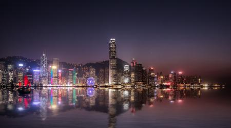 hong kong: Hong Kong cityscape at night Editorial