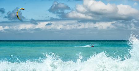 kite surfing: Kite surfing -  summer water sport outdoor activity