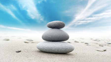 zen rocks: Calm zen meditate background with rock pyramid Stock Photo