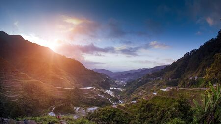 Famous Ifugao Philippines rice terraces at sunset Stok Fotoğraf