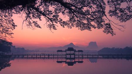 thar: Beautiful sunrise over Kan Thar Yar lake in Hpa An Myanmar (Burma). Landmarks and tourist travel destinations in Asia