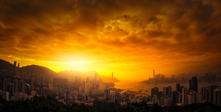 HONG KONG: Dramatic sunset sky over Hong Kong panoramic view