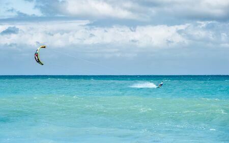 Kiteboarding in ocean