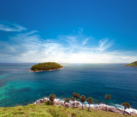 Island and blue sky of summer day. Phuket, Thailand