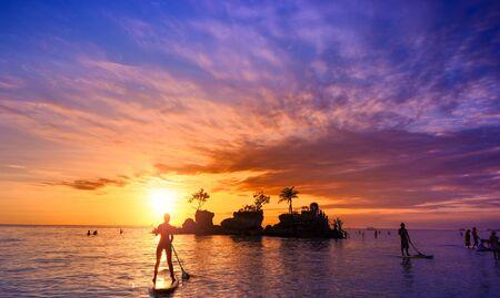 Bali Indonesia, beautiful sea beach at sunset