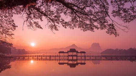 Myanmar (Burma) Hpa An lake at sunrise. Asian landmark and travel destination