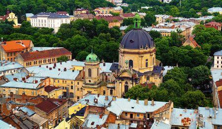 Lviv rustic city architecture of ancient town center in western Ukraine Stok Fotoğraf