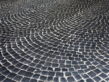 Paved floor with paving stones texture