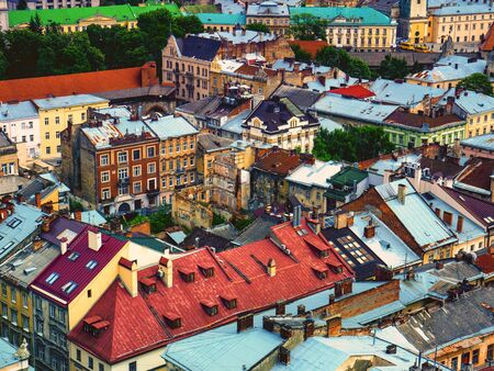 Colorful roofs of old houses in Lviv city ancient area. Travel to Ukraine