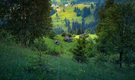 Ukraine countryside beautiful nature landscape. Old carpathian village panorama