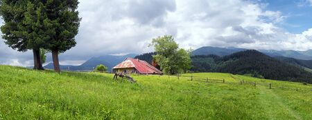 Rural countryside landscape of western Ukraine. Stok Fotoğraf