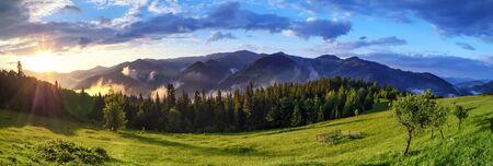 Sunrise over Carpathian mountains panoramic landscape. Stok Fotoğraf