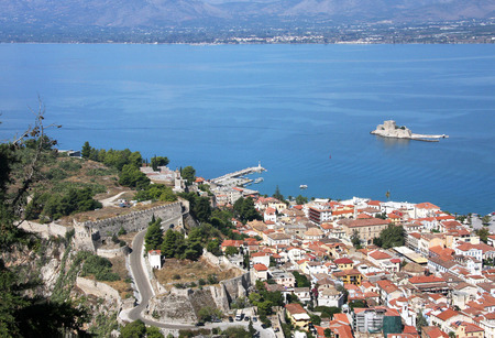bourtzi: Old fortress in Nafplion, the first capital of Greece (1928-1933 biennium). Peloponnese. Greece