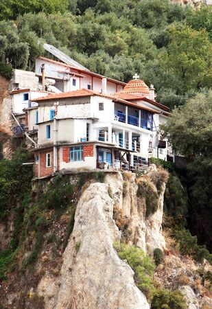 monastic: The monastic monastery located a ledge of Athos mountains. Greece