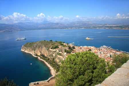 Nafplion - city in the Peloponnese. Capital Nome Argolida and the first capital of Greece in 1828-1833, respectively. Stock Photo