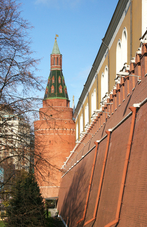arsenal: THE CORNER ARSENAL TOWER OF THE Moscow KREMLIN. Erected in 1492 by Pietro Antonio Solari.