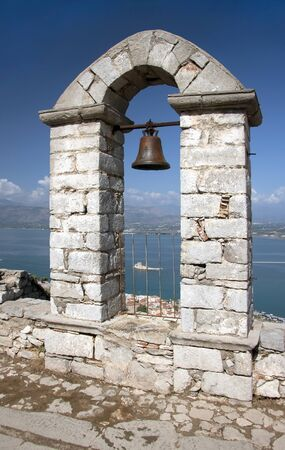 Panoramic view with the belfry at the top of Palamidi Fortress in Nafplion, Argolis Peloponnese, Greece