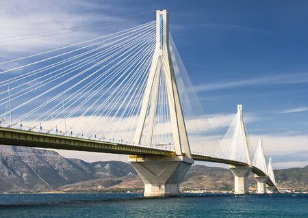 Suspension bridge through the Gulf of Corinth. It is long the bridge of 2252 m. Greece
