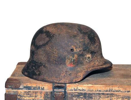 German helmet of the Second World War. Russia 免版税图像 - 112584475