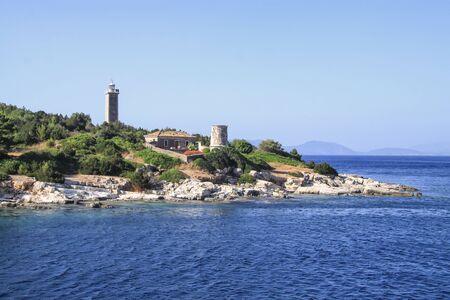 Old venetian lighthouse on the island of Kefalonia. Greece Foto de archivo