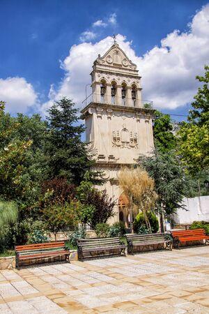 Bell tower of the monastery of St. Gerasimos - the patron saint island of Kefalonia. Greece