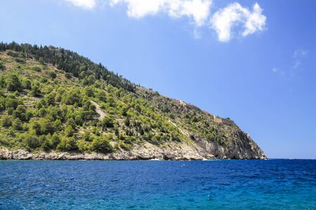 Kefalonia island. The ruins of a fortress on the peninsula of Assos. Greece Foto de archivo