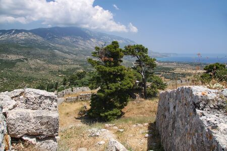 Ruins of the fortress of St. George on the island of Kefalonia. Greece