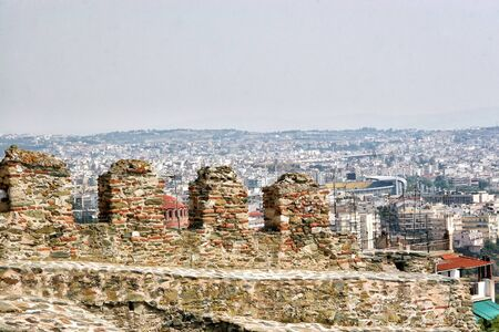 Battlements of an ancient fortress over Thessaloniki. Greece