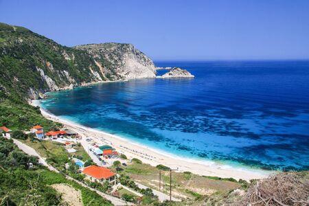 Large and beautiful beach of Petani. Kefalonia, Greece