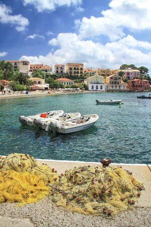 Small village of Assos located not isthmus Assos peninsula. Kefalonia. Greece