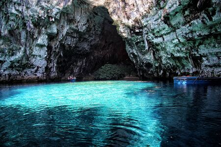 Melissani lake in a karst cave on the island of Kefalonia. Greece