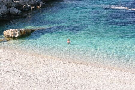 Beautiful wild beach on the island of Corfu. Greece Foto de archivo