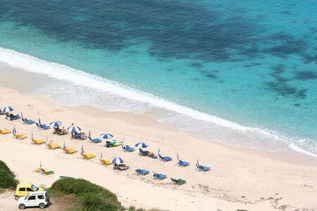 Wide sandy beach on the island of Kefalonia. Greece