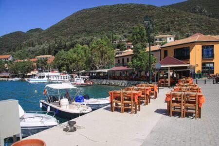 Tavern in the port of Vasliki on the island of Lefkada. Greece