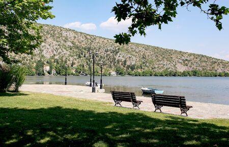 Embankment of Lake Orestiada in Kastoria. Greece