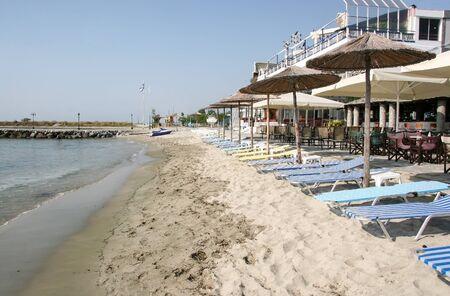Beach of Paralia Katerinis resort in Pieria. Greece