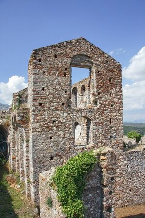 Ruins of a house in the ancient city of Mystras. Peloponnese, Greece