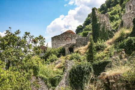 Ruins of ancient Mystra - the capital of the despotate Morea. Greece, Peloponnese