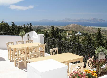 Panorama of the island of Kos from the veranda of the tavern. Greece Foto de archivo