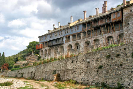 Ancient Iversky monastery on the holy Mount Athos. Greece