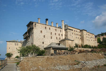 Ancient monastery of Xenophon on the holy Mount Athos. Greece Foto de archivo
