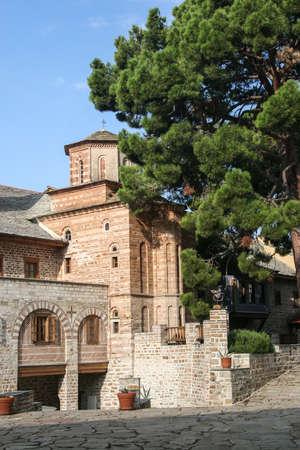Courtyard of the Xenophon monastery on Athos. Greece, Halkidiki Foto de archivo