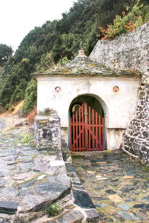 Holy spring of the Iversky monastery on Mount Athos. Greece, Halkidiki Foto de archivo