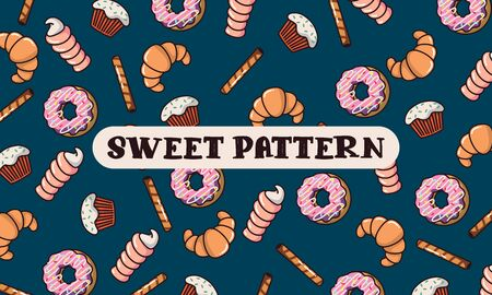Sweet pattern with donuts, straws, muffins and cakes. Pattern of randomly scattered sweets on a blue background. Can be used as in packaging, spider web as a board Ilustracja